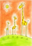 Trois girafes heureuses, le retrait de l'enfant, peinture d'aquarelle Photographie stock libre de droits