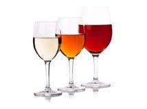 Trois glaces avec du vin de couleur différente Photo stock