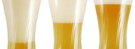 Trois glaces de bière Photographie stock