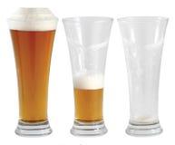 Trois glaces de bière Images stock