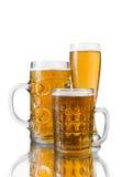 Trois glaces de bière Photo stock