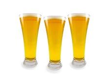 Trois glaces de bière Photographie stock libre de droits