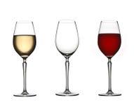 Trois glaces de vin Photo libre de droits