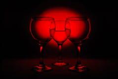 Trois glaces de vin Photos stock
