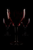 Trois glass. Celebratory and seasonal wine glasses for alcoholic drinks royalty free stock image