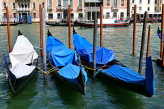 Trois gondoles se sont accouplées dans une rangée à Venise, Italie Image libre de droits