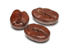 Trois grains de café d'isolement sur le fond blanc photo stock