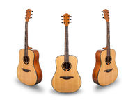 Trois guitares acoustiques sur le blanc Images libres de droits