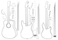Trois guitares : basse, électro et acoustique illustration stock