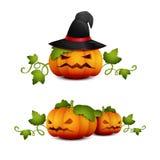 Trois Halloween pumpkin-01 Photos libres de droits