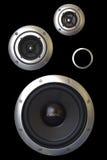 Trois haut-parleurs photo stock