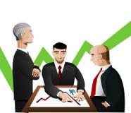 Trois hommes d'affaires discutant le diagramme Illustration de Vecteur