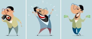 Trois hommes dans différentes situations illustration libre de droits