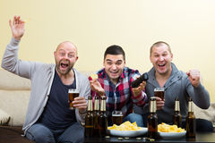 Trois hommes observant le football avec de la bière d'intérieur Photos stock