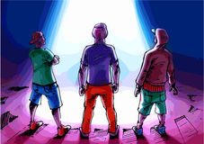 Trois hommes observent la lumière. illustration libre de droits
