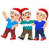 Trois hommes utilise le chapeau de Noël se tient et parle illustration de vecteur
