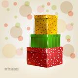 Trois jaunes, vert, rouge, pourpre avec des ronds Illustration de Vecteur