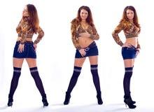 Trois jeune fille, collage Photographie stock libre de droits