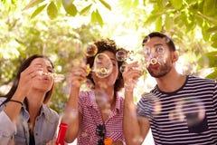 Trois jeunes amis joyeux soufflant des bulles Photo libre de droits