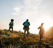Trois jeunes amis sur une promenade de pays Image stock