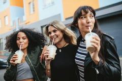 Trois jeunes femelles ayant le café de glace sur la rue de ville Images stock