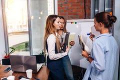 Trois jeunes femmes d'affaires partageant de nouvelles idées d'affaires tenant des notes se tenant au tableau blanc dans le burea Image libre de droits