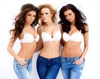 Trois jeunes femmes sexy magnifiques Images stock