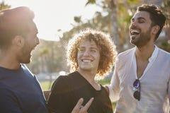 Trois jeunes hommes tenant ensemble rire d'extérieur images libres de droits