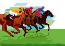 Trois jockeys sur des chevaux illustration de vecteur