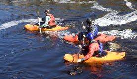 Trois kayaks photographie stock