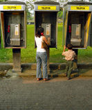 Trois kiosques de téléphone Asie Photos stock