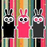 Trois lapins drôles Images libres de droits