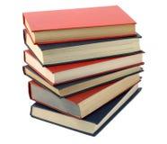 Trois livres bleus et trois rouges Photos stock