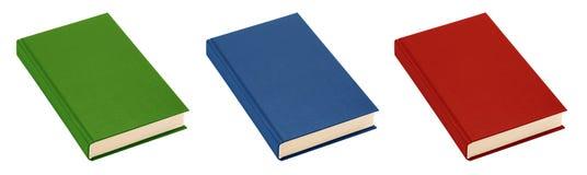 Trois livres (vert, bleu, rouge) (d'isolement) Image stock