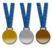 Trois médailles en blanc de gagnants Images libres de droits