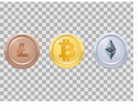 Trois médailles réalistes de pièces de monnaie avec des crypto-devises - bitcoin, etherium, lightcoin, or, argent, bronze, trois  Images libres de droits