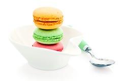 Trois macarons français Photo stock