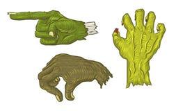 Trois main tirée par la main Halloween Illustration Libre de Droits