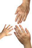 Trois mains Photos libres de droits