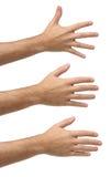 Trois mains ouvertes sur des possitions de differents Images libres de droits
