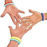 Trois mains sur un fond blanc Images stock