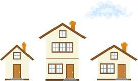 Trois maisons Illustration de Vecteur