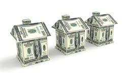 Trois maisons de l'argent d'isolement sur le blanc Construction concentrée Photo libre de droits