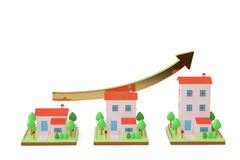 Trois maisons et la hausse de flèche illustration 3D Photos stock