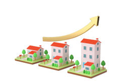 Trois maisons et la hausse de flèche illustration 3D Photographie stock libre de droits