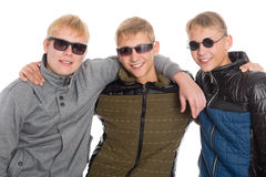 Trois meilleurs amis dans des lunettes de soleil Photographie stock libre de droits