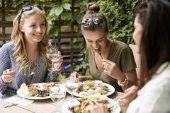 Trois meilleurs amis pendant le temps de déjeuner Image libre de droits