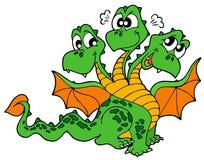 Trois mignons ont dirigé le dragon illustration stock