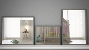 Trois miroirs modernes sur l'étagère ou le bureau reflétant la scène de conception intérieure, crèche en pastel colorée, inte bla illustration libre de droits
