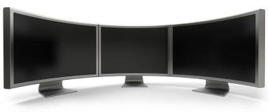 Trois moniteurs incurvés d'ordinateur Photos libres de droits
